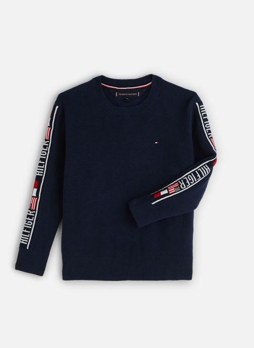 Kleding Tommy Hilfiger Intarsia Logo Rib Sweater Blauw detail