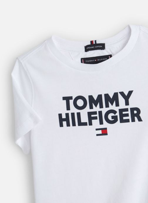 Vêtements Tommy Hilfiger Logo Tee Blanc vue portées chaussures