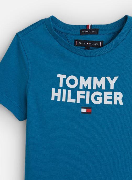 Vêtements Tommy Hilfiger Logo Tee Bleu vue portées chaussures