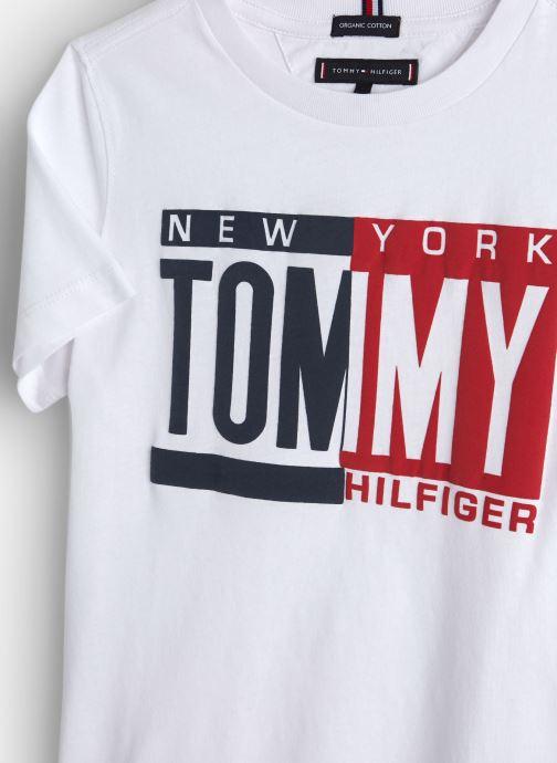Vêtements Tommy Hilfiger Puff Print Tee Blanc vue portées chaussures