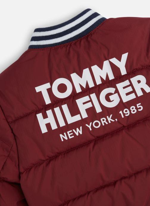 Vêtements Tommy Hilfiger Padded Bomber Bordeaux vue portées chaussures