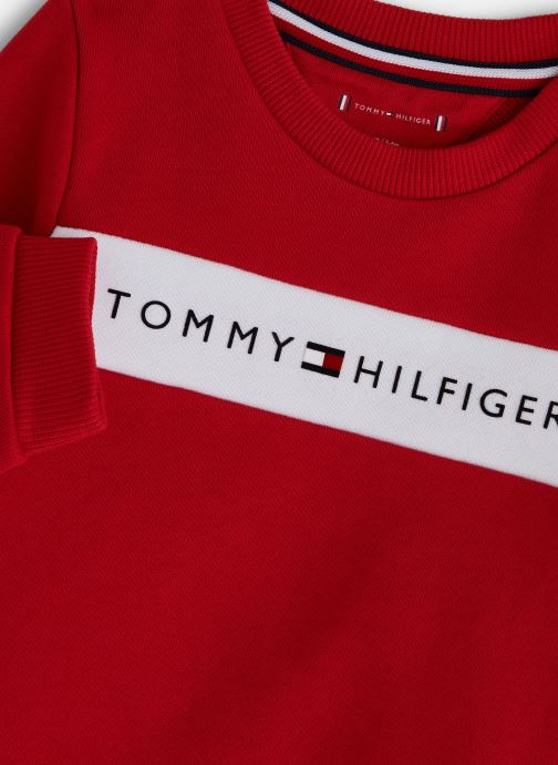 Vêtements Tommy Hilfiger Baby Tommy Loopback Sweatshirt Rouge vue portées chaussures