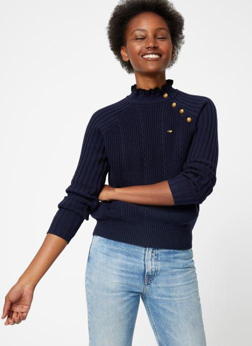 Vêtements Maison Scotch Basic pull with button details Bleu vue détail/paire