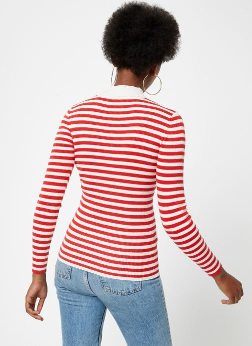 Vêtements Maison Scotch Fitted rib knit with high neck Rouge vue portées chaussures