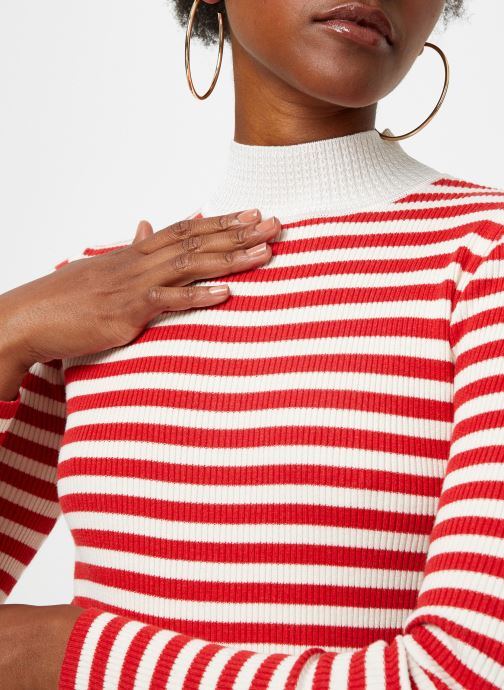 Vêtements Maison Scotch Fitted rib knit with high neck Rouge vue face