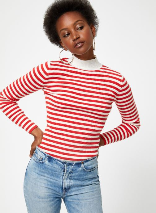 Vêtements Maison Scotch Fitted rib knit with high neck Rouge vue droite