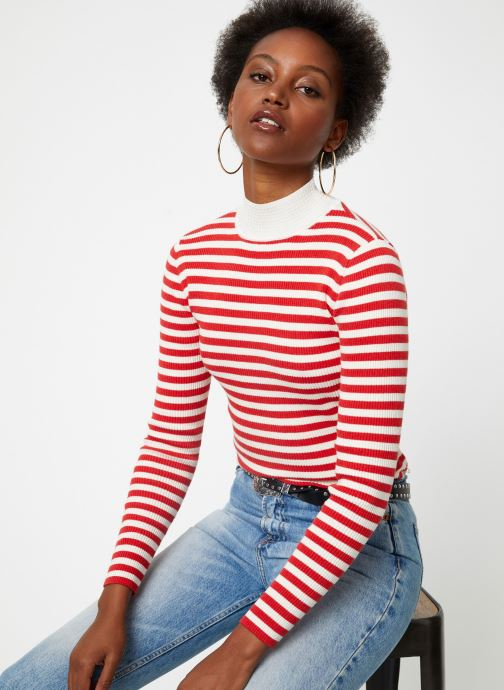 Vêtements Scotch & Soda Fitted rib knit with high neck Rouge vue détail/paire