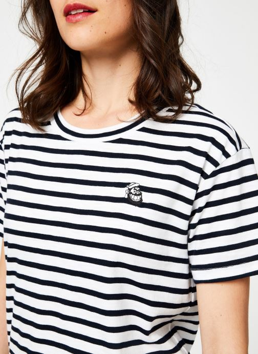 Vêtements Maison Scotch Brutus Ams Blauw colab striped tee with small embroidery Bleu vue face