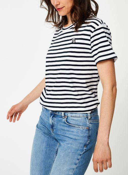 Vêtements Maison Scotch Brutus Ams Blauw colab striped tee with small embroidery Bleu vue droite