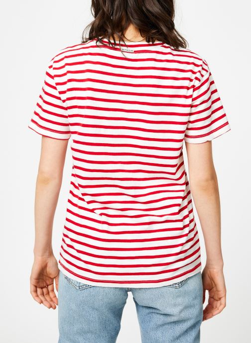 Vêtements Maison Scotch Brutus Ams Blauw colab striped tee with small embroidery Rouge vue portées chaussures