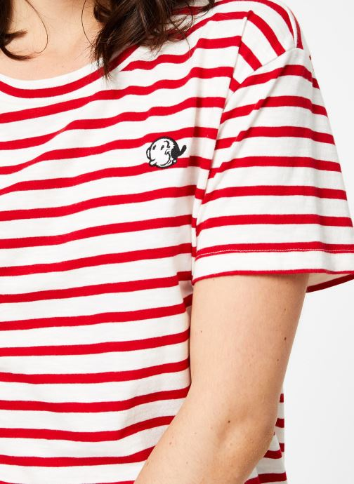 Vêtements Maison Scotch Brutus Ams Blauw colab striped tee with small embroidery Rouge vue face