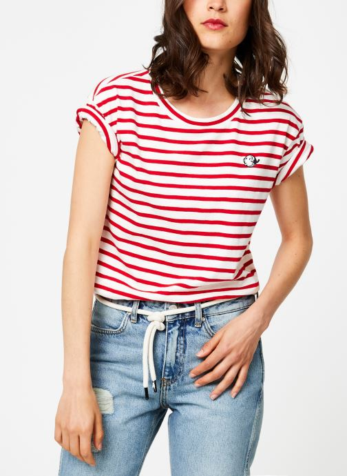 Vêtements Maison Scotch Brutus Ams Blauw colab striped tee with small embroidery Rouge vue droite
