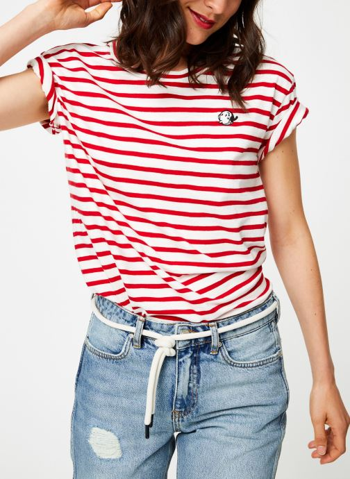 Vêtements Maison Scotch Brutus Ams Blauw colab striped tee with small embroidery Rouge vue détail/paire