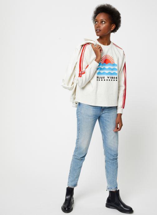 Vêtements Maison Scotch Cropped sweat with stripes on sleeves Beige vue bas / vue portée sac