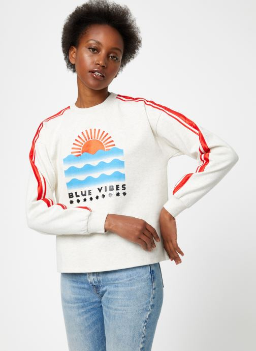 Vêtements Maison Scotch Cropped sweat with stripes on sleeves Beige vue droite