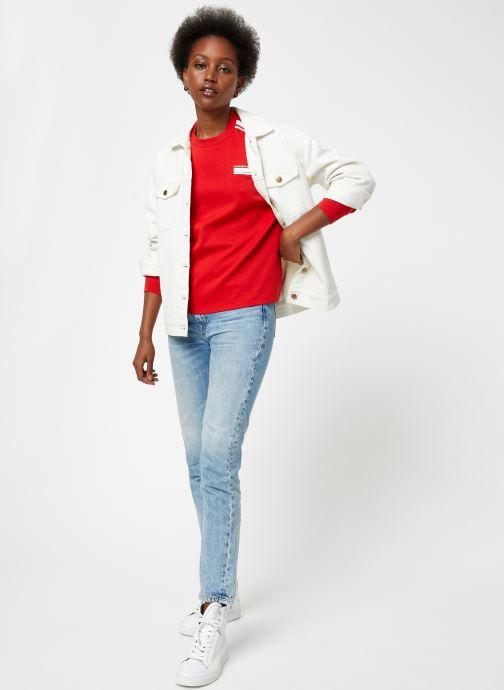 Vêtements Maison Scotch Cropped sweat with stripes on sleeves Rouge vue bas / vue portée sac