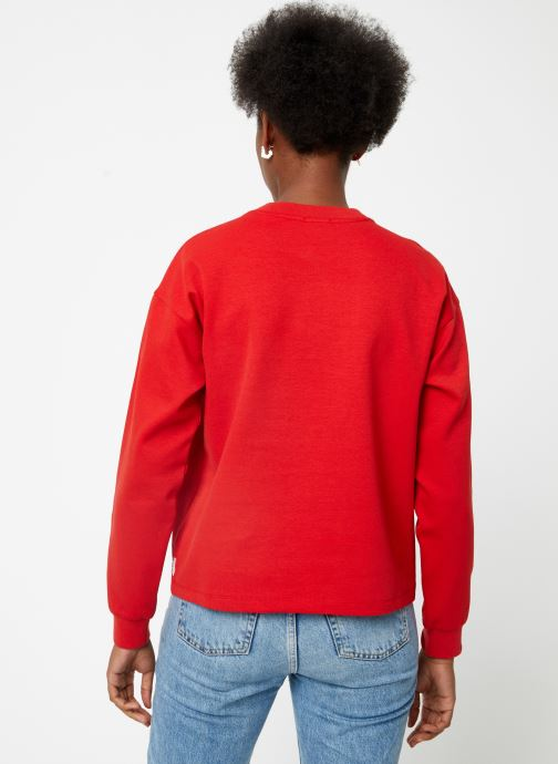 Vêtements Maison Scotch Cropped sweat with stripes on sleeves Rouge vue portées chaussures