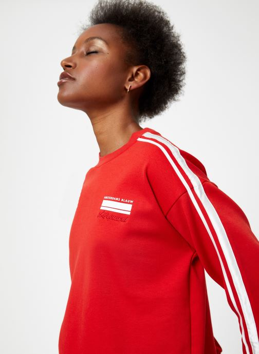 Vêtements Maison Scotch Cropped sweat with stripes on sleeves Rouge vue face