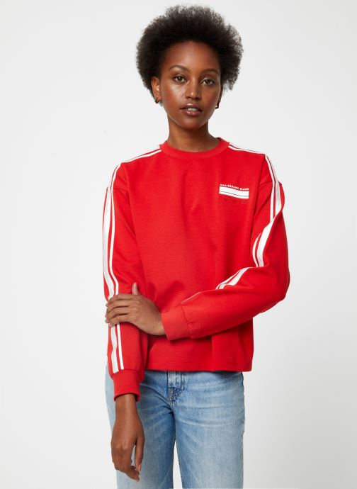 Vêtements Maison Scotch Cropped sweat with stripes on sleeves Rouge vue droite