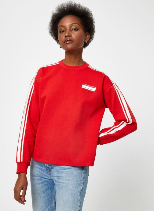 Vêtements Scotch & Soda Cropped sweat with stripes on sleeves Rouge vue détail/paire