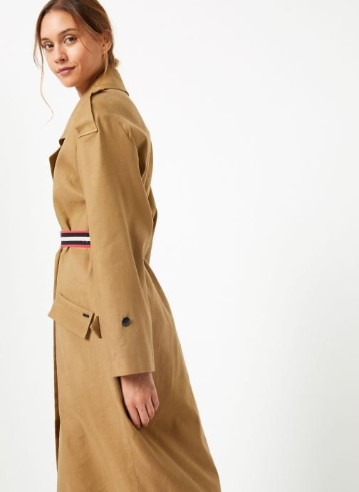 Vêtements Maison Scotch Longer length drapy trench coat comes with a waist-belt Beige vue droite