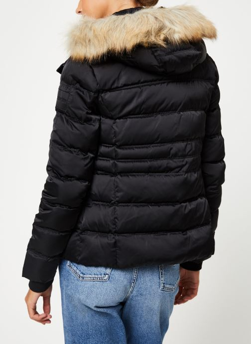 Kleding Calvin Klein Jeans SHORT DOWN FITTED PUFFER Zwart model