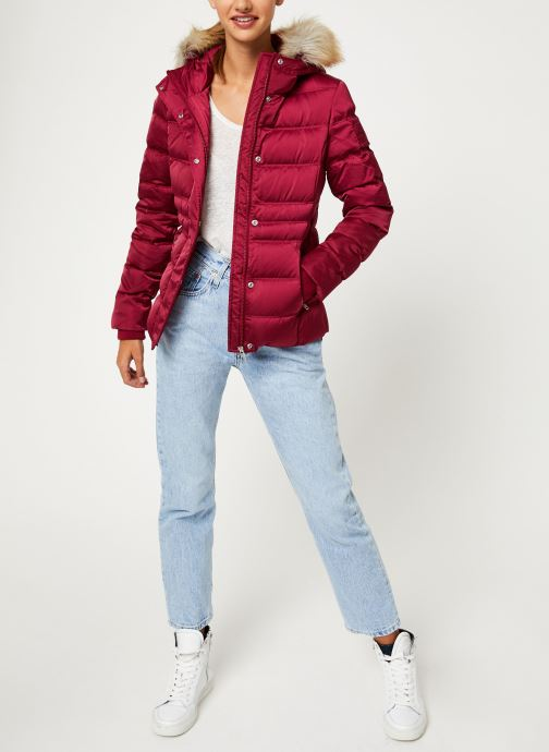 Vêtements Calvin Klein Jeans SHORT DOWN FITTED PUFFER Rouge vue bas / vue portée sac