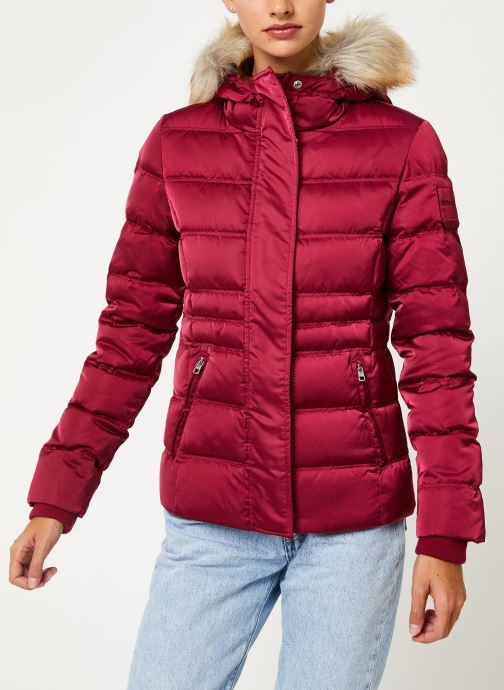 Vêtements Calvin Klein Jeans SHORT DOWN FITTED PUFFER Rouge vue droite