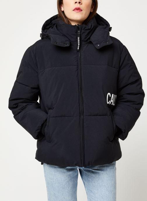 Vêtements Calvin Klein Jeans OVERSIZED LOGO PUFFER Noir vue droite