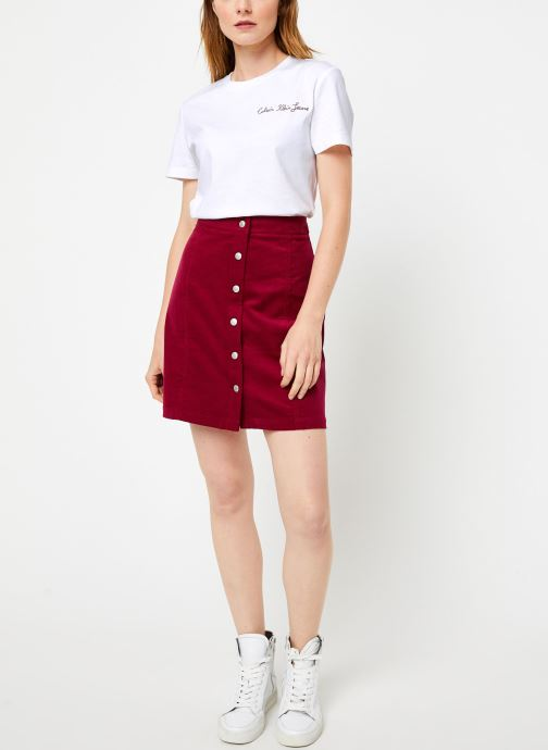 Vêtements Calvin Klein Jeans MINI CORDUROY BUTTON DOWN SKIRT Bordeaux vue bas / vue portée sac