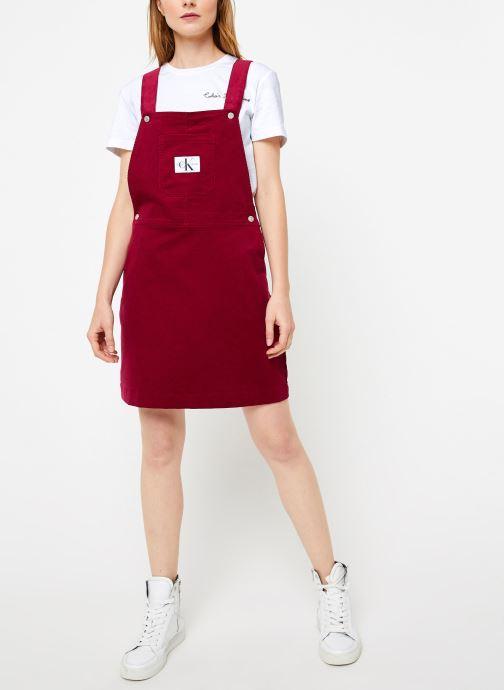Vêtements Calvin Klein Jeans MINI CORDUROY DUNGAREE DRESS Bordeaux vue bas / vue portée sac