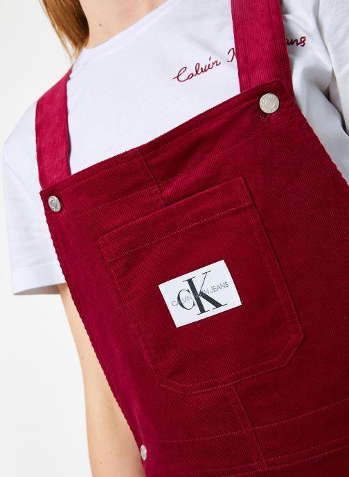 Vêtements Calvin Klein Jeans MINI CORDUROY DUNGAREE DRESS Bordeaux vue face