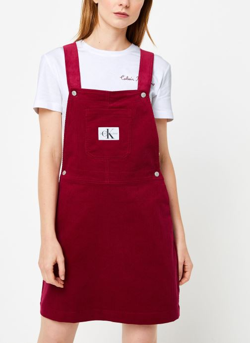Vêtements Calvin Klein Jeans MINI CORDUROY DUNGAREE DRESS Bordeaux vue droite