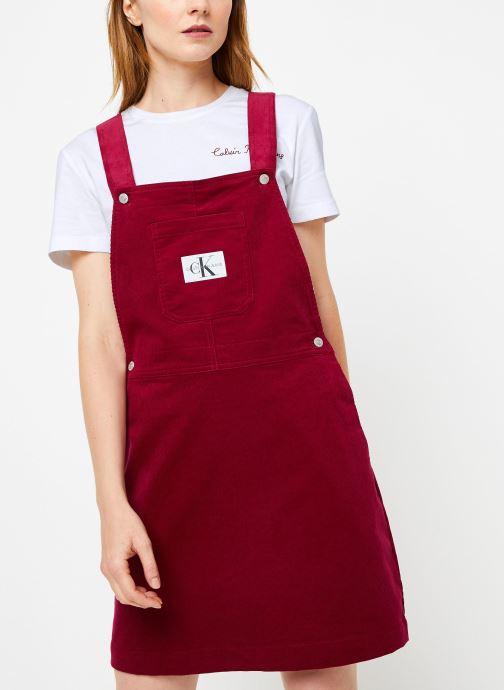 Vêtements Calvin Klein Jeans MINI CORDUROY DUNGAREE DRESS Bordeaux vue détail/paire