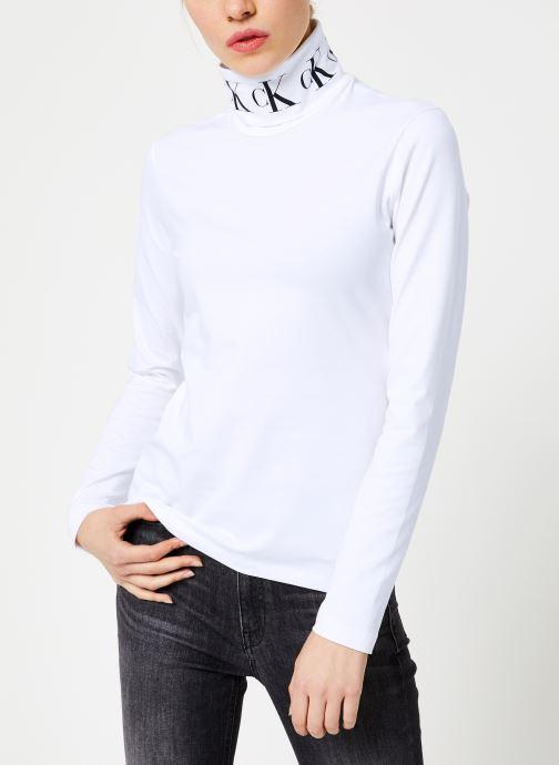 Vêtements Calvin Klein Jeans MONOGRAM TAPE ROLL NECK LS TEE Blanc vue détail/paire