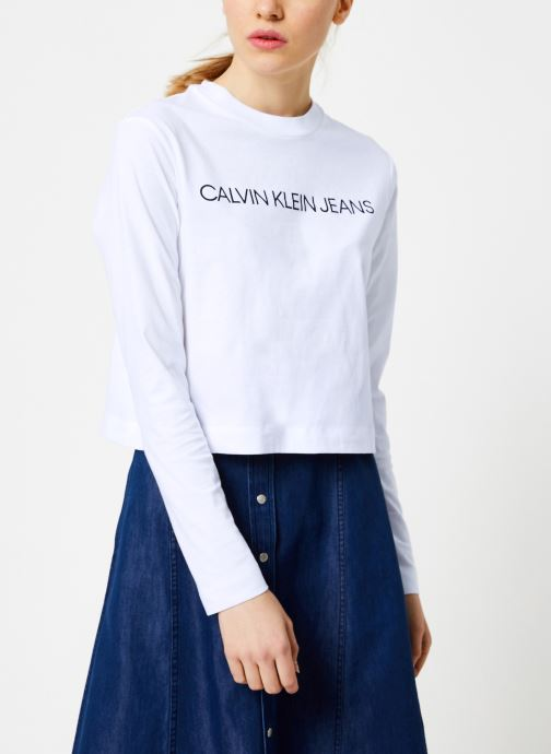 Vêtements Calvin Klein Jeans INSTITUTIONAL LOGO LS CROP TEE Blanc vue détail/paire