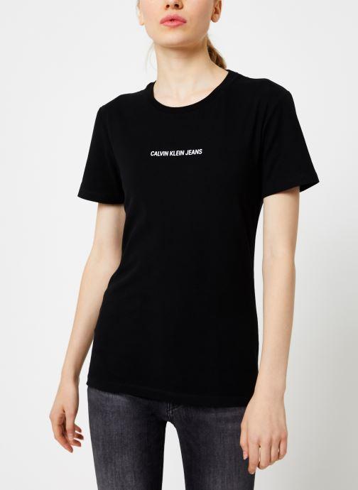 Vêtements Calvin Klein Jeans INST LOGO STRETCH SLIM TEE Noir vue droite