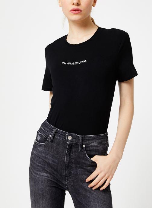 Vêtements Calvin Klein Jeans INST LOGO STRETCH SLIM TEE Noir vue détail/paire