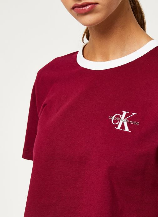 Kleding Calvin Klein Jeans MONOGRAM EMBROIDERY RINGER TEE Bordeaux voorkant
