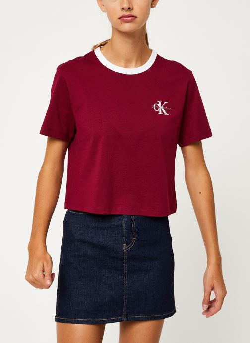 Kleding Calvin Klein Jeans MONOGRAM EMBROIDERY RINGER TEE Bordeaux rechts