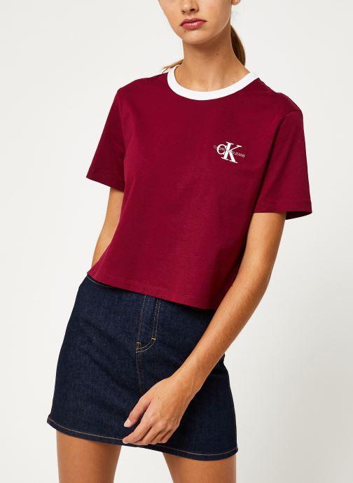 Kleding Calvin Klein Jeans MONOGRAM EMBROIDERY RINGER TEE Bordeaux detail