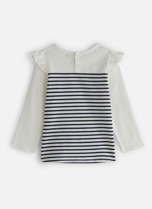 Vêtements 3 Pommes T-Shirt Marinière à volants Blanc vue bas / vue portée sac