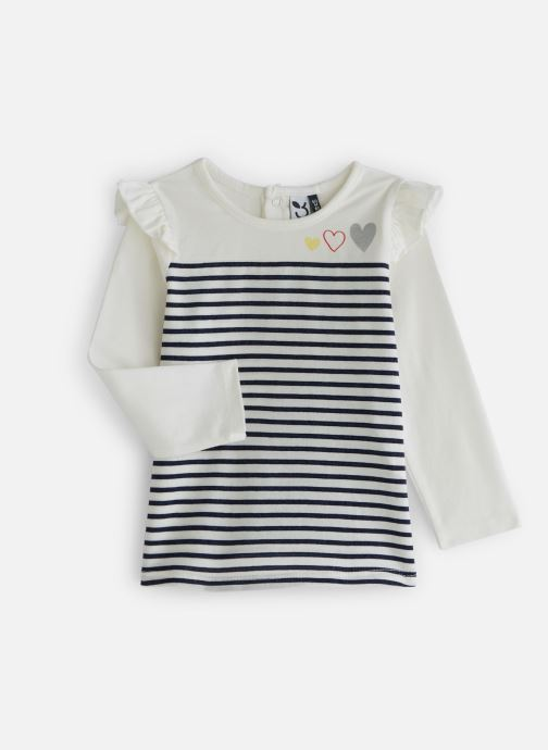 Vêtements 3 Pommes T-Shirt Marinière à volants Blanc vue détail/paire