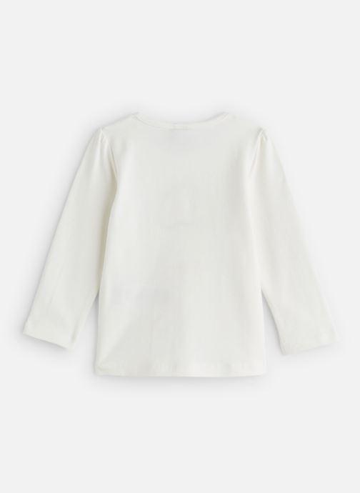 """Vêtements 3 Pommes T-Shirt """"Rêveur"""" Manches Longues Blanc Blanc vue bas / vue portée sac"""