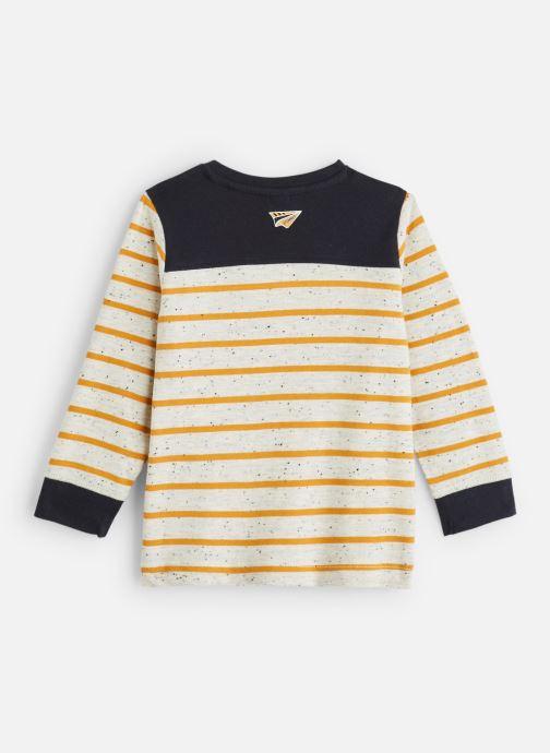 Vêtements 3 Pommes T-Shirt à Rayures Gris et Jaune Moutarde Blanc vue bas / vue portée sac