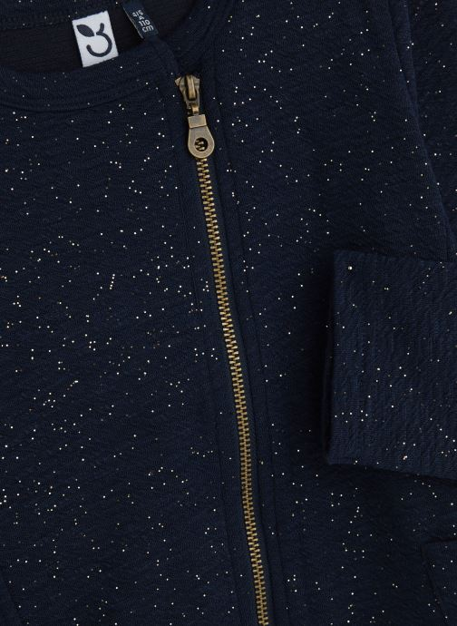 Vêtements 3 Pommes Veste Mi-Saison Maille Gaufrée à paillettes Bleu vue portées chaussures