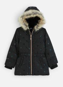 Manteau à Capuche Noir à Pois - Fausse Fourrure