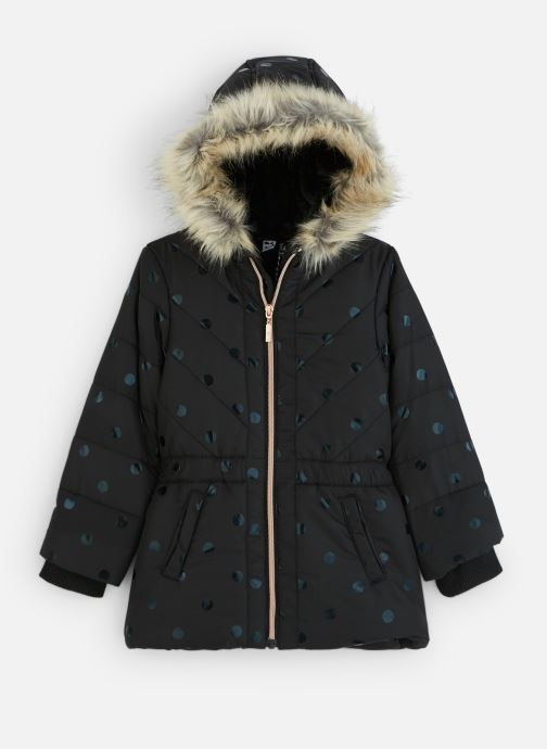 Vêtements 3 Pommes Manteau à Capuche Noir à Pois - Fausse Fourrure Noir vue détail/paire