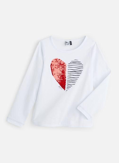 Vêtements 3 Pommes T-Shirt Blanc Sequin Cœur Blanc vue détail/paire