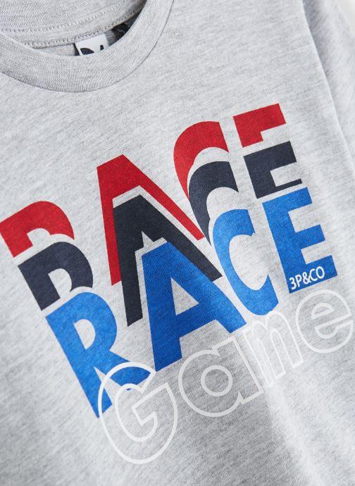 """Vêtements 3 Pommes T-Shirt """"Up & Down"""" Blanc Gris vue portées chaussures"""